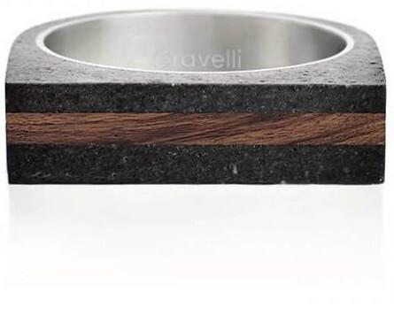 Gravelli Betónový prsteň antracitový Stamp Wood GJRUWOA004 56 mm