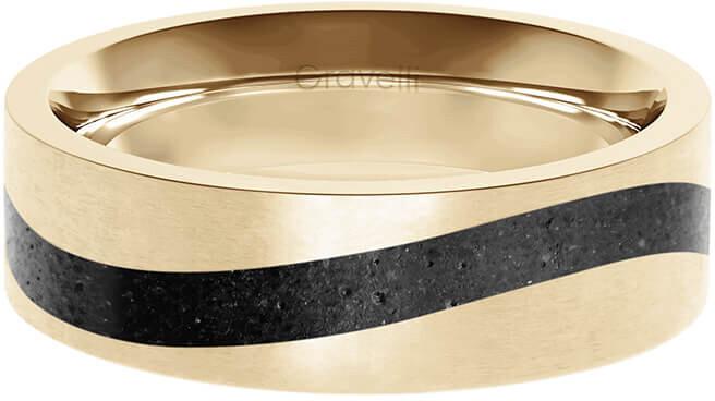 Gravelli Betónový prsteň Curve zlatá / antracitová GJRWYGA113 56 mm