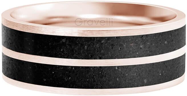 Gravelli Betónový prsteň Fusion Double line bronzová / antracitová GJRWRGA112 56 mm