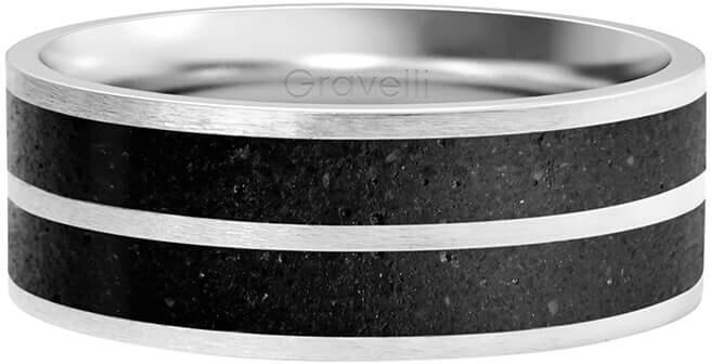 Gravelli Betónový prsteň Fusion Double line oceľová / antracitová 56 mm