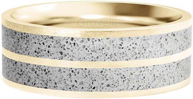 Gravelli Betónový prsteň Fusion Double line zlatá / šedá GJRWYGG112 56 mm