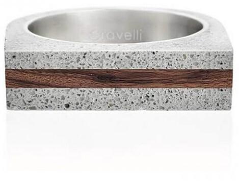 Gravelli Betónový prsteň šedý Stamp Wood GJRUWOG004 56 mm