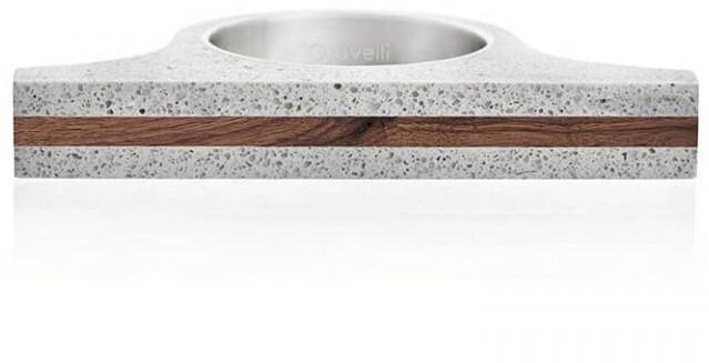 Gravelli Extravagantné betónový prsteň Omega Wood GJRUWOG006 56 mm