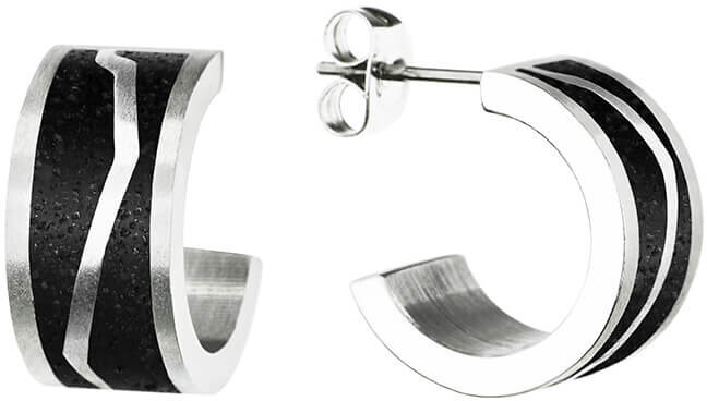 Gravelli Kruhové oceľové náušnice s betónom Split GJEWSSA102UN