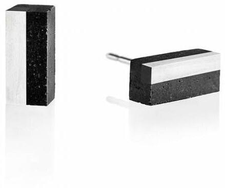 Gravelli Náušnice z betónu a ocele Block Steel GJEWSSA004UN