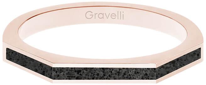 Gravelli Oceľový prsteň s betónom Three Side bronzová / antracitová GJRWRGA123 56 mm