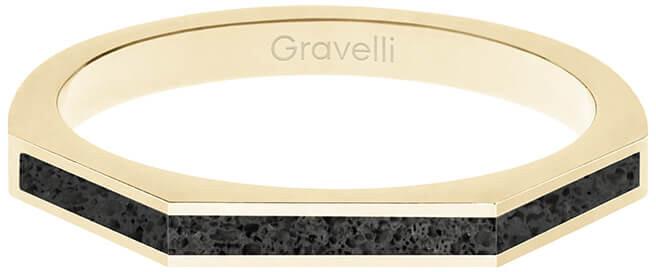 Gravelli Oceľový prsteň s betónom Three Side zlatá / antracitová GJRWYGA123 56 mm