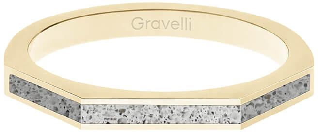 Gravelli Oceľový prsteň s betónom Three Side zlatá / šedá GJRWYGG123 56 mm