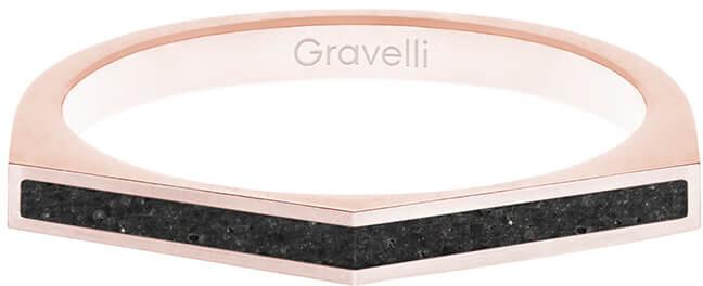 Gravelli Oceľový prsteň s betónom Two Side bronzová / antracitová GJRWRGA122 56 mm