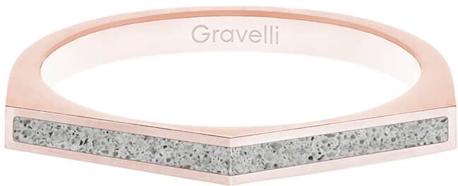 Gravelli Oceľový prsteň s betónom Two Side bronzová / sivá GJRWRGG122 56 mm