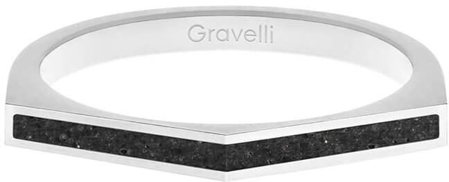 Gravelli Oceľový prsteň s betónom Two Side oceľová / antracitová GJRWSSA122 56 mm