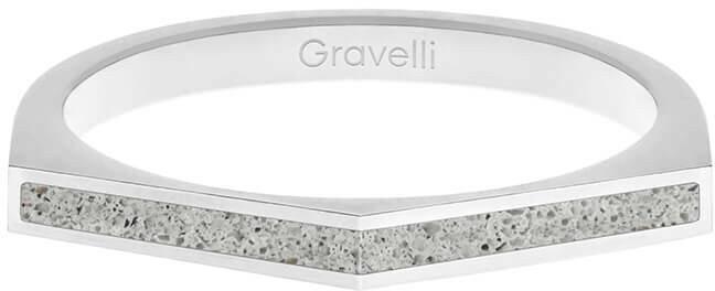 Gravelli Oceľový prsteň s betónom Two Side oceľová / sivá GJRWSSG122 56 mm