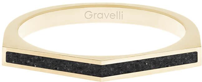 Gravelli Oceľový prsteň s betónom Two Side zlatá / antracitová GJRWYGA122 56 mm