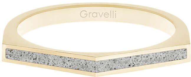 Gravelli Oceľový prsteň s betónom Two Side zlatá / šedá GJRWYGG122 56 mm