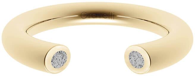 Gravelli Otvorený prsteň s betónom Open zlatá / šedá GJRWYGG107 56 mm
