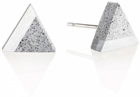 Gravelli Kôstkové náušnice z betónu a ocele Triangle Steel GJEWSSG003UN