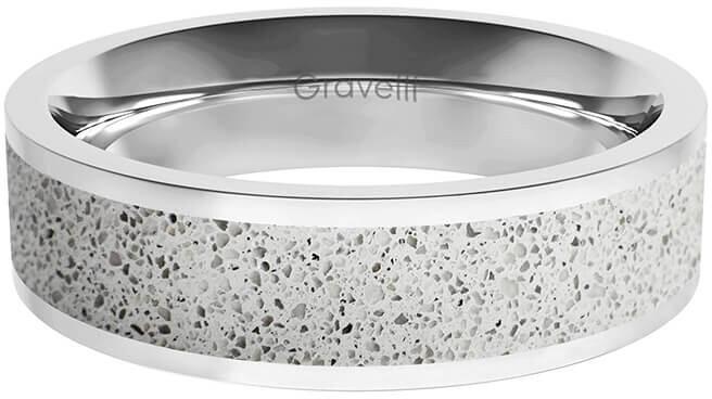 Gravelli Prsteň s betónom Fusion Bold oceľová / sivá GJRWSSG111 56 mm