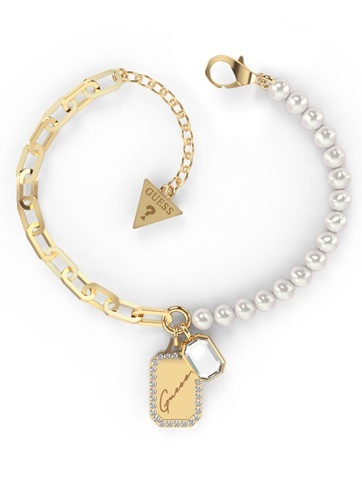 Guess Elegantní pozlacený náramek s perlami Crystal Tag JUBB01135JWYGS-S