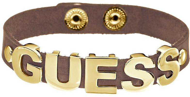 Guess Kožený náramek s pozlaceným nápisem UBB81311