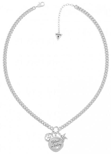 Guess Módne oceľový náhrdelník s tromi prívesky UBN70044