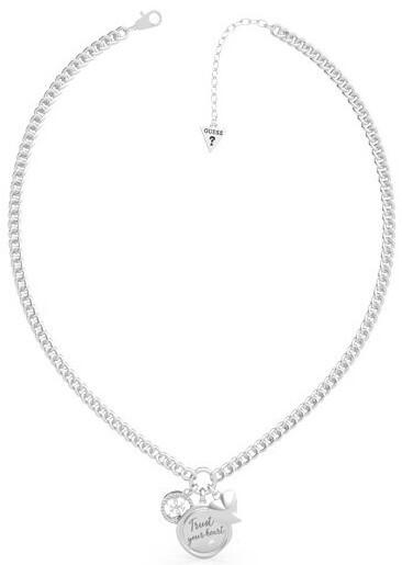 Guess Módne oceľový náhrdelník s tromi prívesky UBN70038
