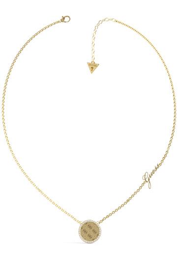 Guess Nadčasový pozlacený náhrdelník s krystaly Round Harmony JUBN01155JWYG