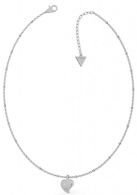Guess Oceľový náhrdelník s príveskom Srdce UBN79012