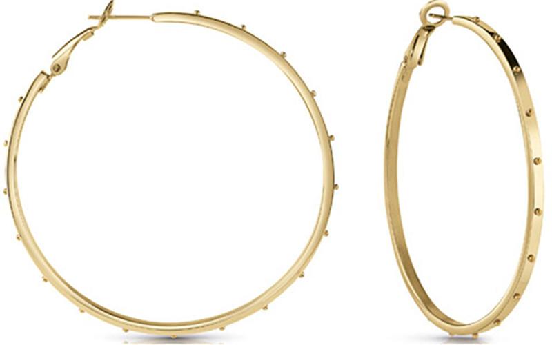 Levně Guess Pozlacené náušnice kruhy UBE28087
