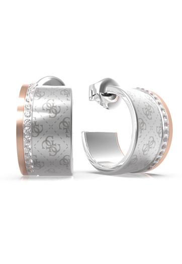 Guess Půvabné ocelové bicolor náušnice s krystaly Round Harmony JUBE01160JWRHRG