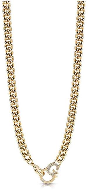 Guess Slušivý pozlátený oceľový náhrdelník UBN28065