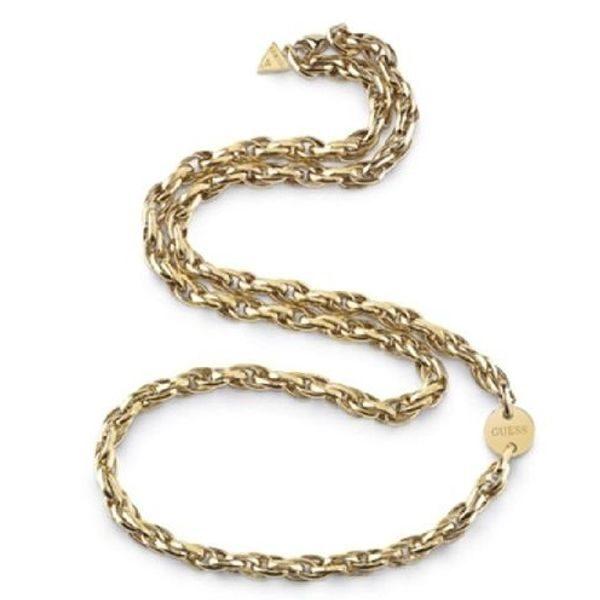 Guess Slušivý pozlátený oceľový náhrdelník UBN29041