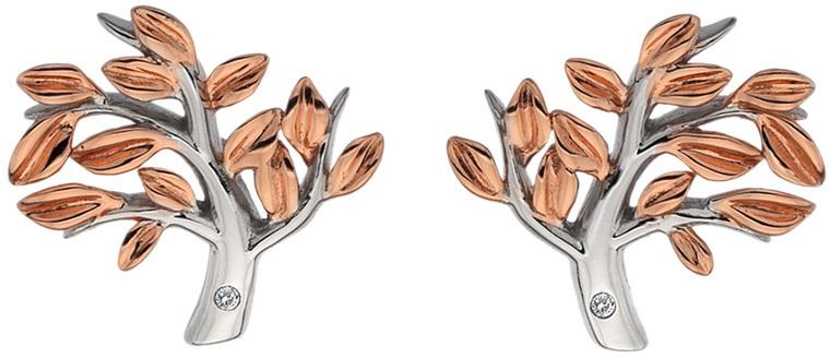 Hot Diamonds Bicolor stříbrné náušnice se stromem života Jasmine DE566