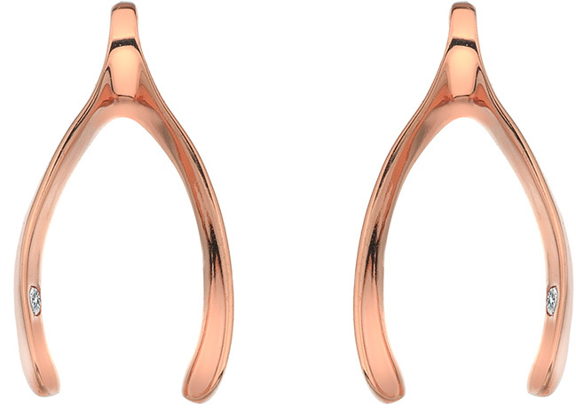 Hot Diamonds Náušnice Wishbone Rose Gold DE414