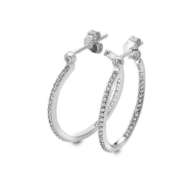 Hot Diamonds Strieborné kruhové náušnice s diamantmi Hoops Topaz DE623