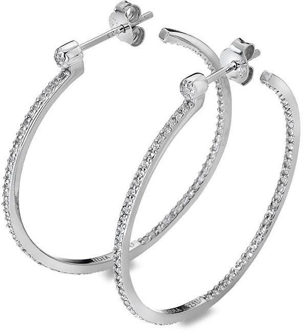 Hot Diamonds Strieborné kruhové náušnice s diamantmi Hoops Topaz DE624