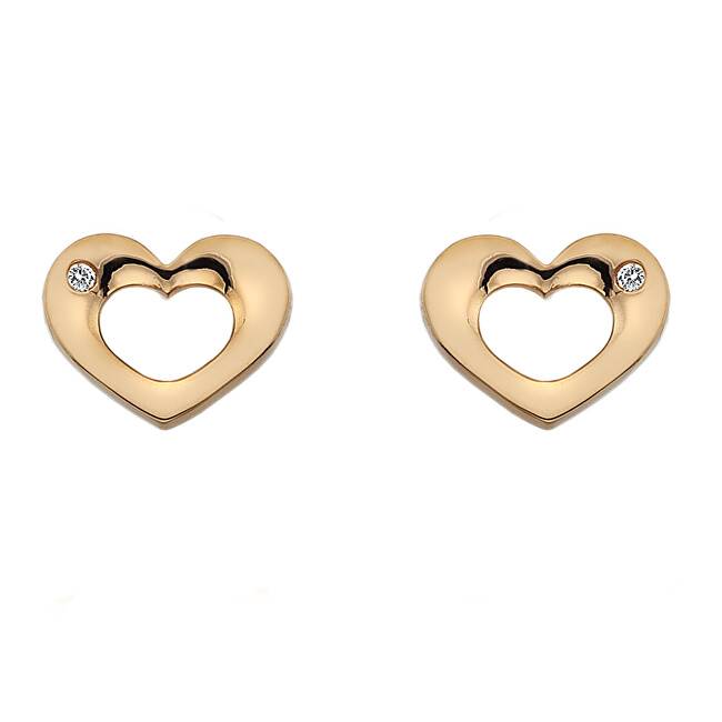 Hot Diamonds Stříbrné náušnice Hot Diamonds Emerge Heart Rose Gold DE435