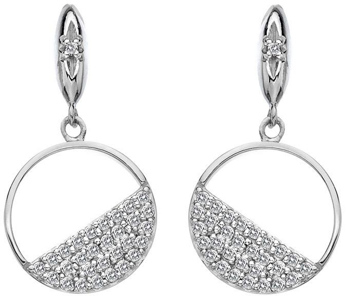 Hot Diamonds Strieborné kruhové náušnice s diamantmi Horizon Topaz DE621