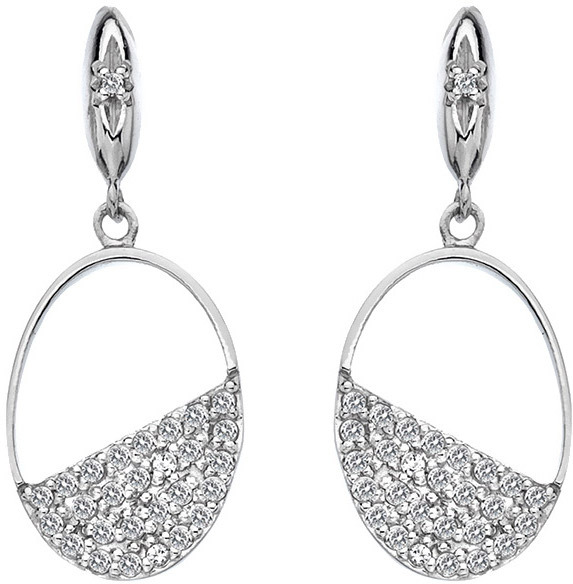 Hot Diamonds Strieborné oválne náušnice s diamantmi Horizon Topaz DE622