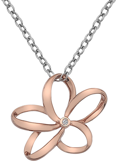 Hot Diamonds Stříbrný náhrdelník Hot Diamonds Paradise Large Rose Gold DP611