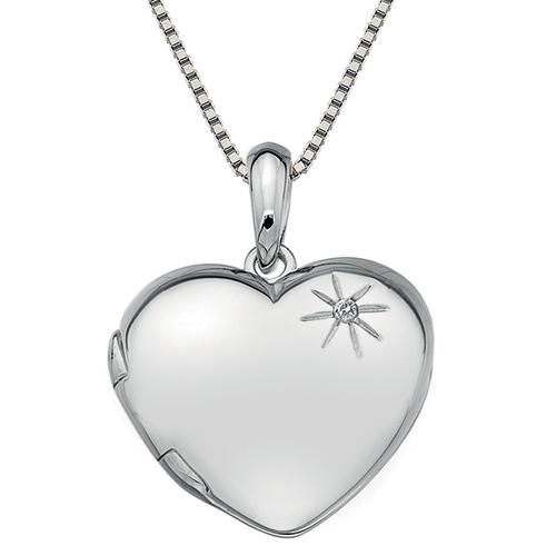Hot Diamonds Strieborný náhrdelník Hot Diamonds Memoirs Heart Locket DP495 (retiazka, prívesok)
