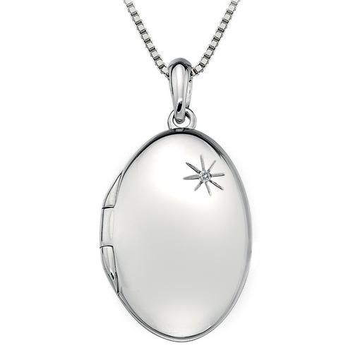 Hot Diamonds Strieborný náhrdelník Hot Diamonds Memoirs Oval Locket DP493 (retiazka, prívesok)