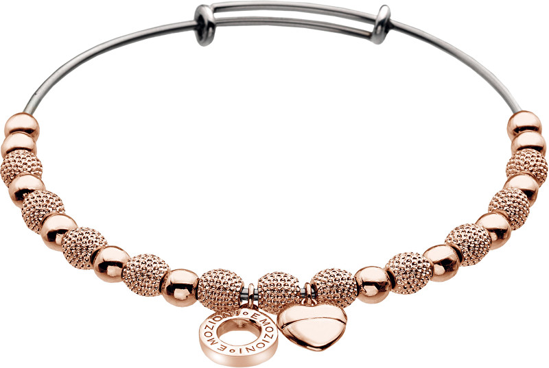 Hot Diamonds Ocelový náramek Emozioni Rose Gold Ula Bangle DC098