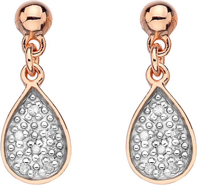 Hot Diamonds Stříbrné náušnice Stargazer Teardrop Rose Gold DE387