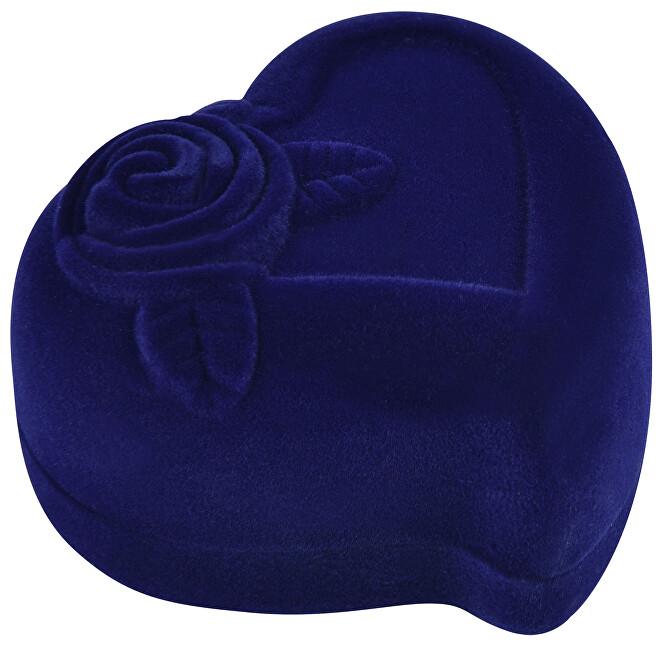 JK Box Modrá darčeková krabička na náušnice alebo prsteň Srdce F-79 / A14