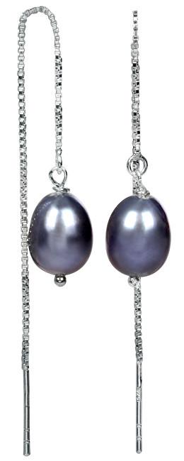 JwL Luxury Pearls Stříbrné řetízkové náušnice s kovově modrou perlou JL0207