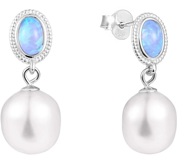 JwL Luxury Pearls Luxusní náušnice s pravou barokní perlou a syntetickým opálem JL0583