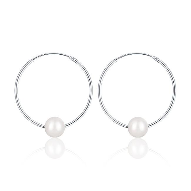 JwL Luxury Pearls Strieborné náušnice kruhy s pravými bielymi perlami JL0633