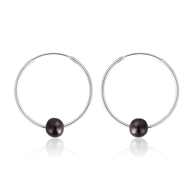 JwL Luxury Pearls Strieborné náušnice kruhy s pravými čiernymi perlami JL0632