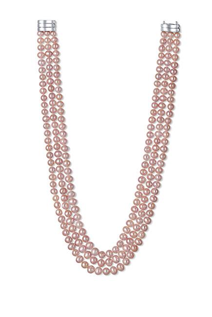 JwL Luxury Pearls Pôvabný trojradové náhrdelník z pravých ružových riečnych perál JL0671