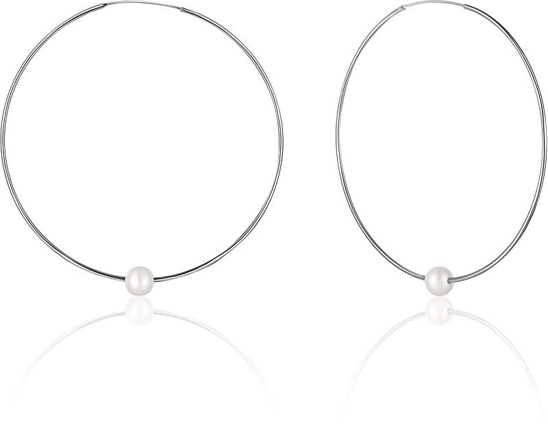 JwL Luxury Pearls Strieborné náušnice kruhy s pravými bielymi perlami JL0638